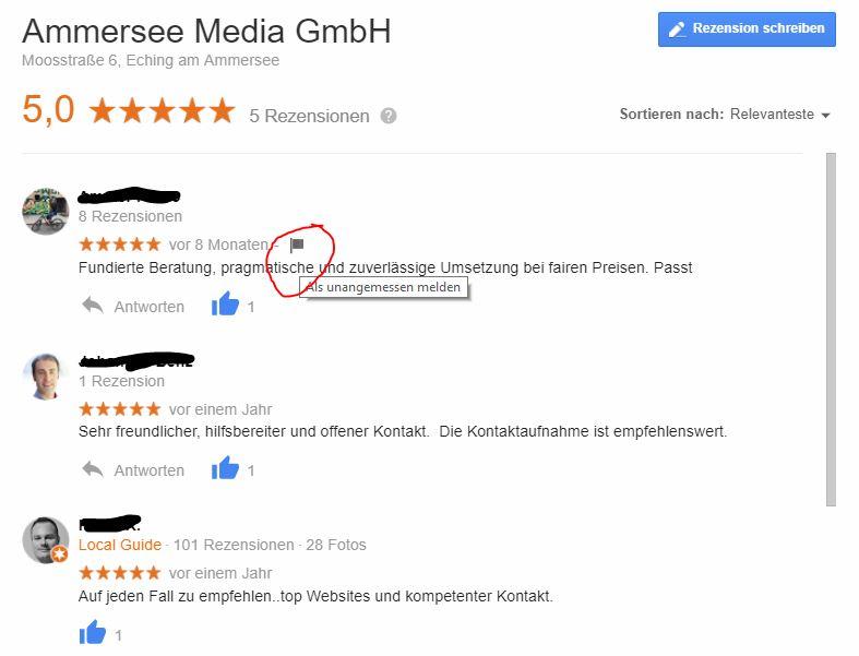 google bewertung als unangemessen melden